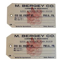 1914 Unused Poultry Tags from M Bergey Co Philadelphia The Poultry House Farm Farmhouse Rooster Chicken