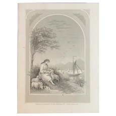 1880 Victorian Pocket Calendar with Engraving of a Woman and Lambs by the Water with Sailing Ship in Background JA Rueff