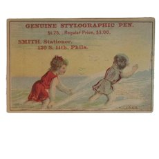 Stylographic Pen Victorian Trade Card with Children at the Beach Smith Stationer