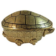 Vintage Lacquer Turtle Trinket Box Gold and Black Lacquered Lacquerware Paper Mache