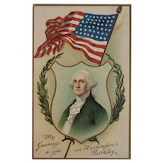 1910 German Washington's Birthday Postcard International Art Publ Co Germany Embossed American Flag President's Day