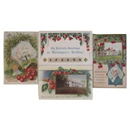 4 Washington's Birthday Postcards Cherry Tree Motif Cherries Embossed President's Day Taggart