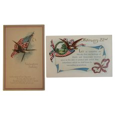 2 Washington's Birthday Postcards American Flag and Eagle Motif Embossed President's Day Gibson Art Co