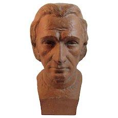 Raffour French Terracotta Liszt Bust Statue Made in France Franz Vintage Terra-cotta Terra Cotta
