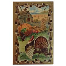 1909 MW Taggart Thanksgiving Embossed Postcard Turkey Pumpkins Corn and Autumn Fall Farm Scene