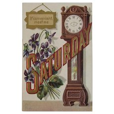Meet Me Saturday Date Series Postcard Grandfather Clock