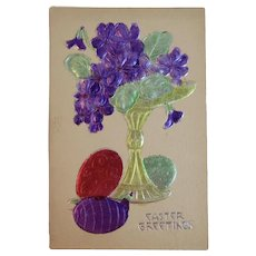 Austrian Easter Postcard Embossed Foil Compote Flowers with Eggs Colored Foil Austria