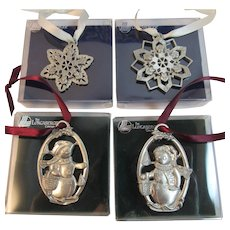 4 Longaberger Pewter Christmas Ornaments in Original Boxes Snowflakes and Snowmen Snow Friends