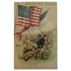 The Capture of San Juan Hill German Memorial Day Postcard Spanish American War Germany Unused