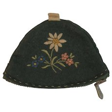 WWII Era German Wool Coin Purse with Embroidery Edelweiss Tyrolean Hat World War II Germany Germany Embroidered Miniature Figural