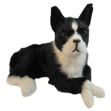 Vintage Fur Toy Boston Terrier Dog Canine Companion for Dolls