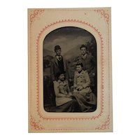 Tintype Photo of Couples Brothers and Wives Double Date Photograph