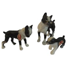 Bone China Boxer Dog Puppy Family Miniature Figurines