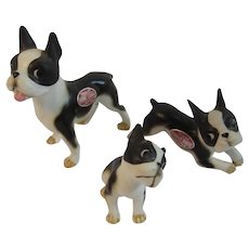 Bradley Bone China Boxer Dog Puppy Family Miniature Figurines