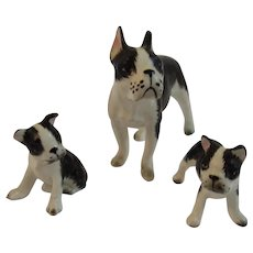 Bone China Boston Terrier Dog Puppy Family Miniature Figurines