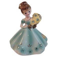 Josef Originals March Birthday Girl Lady Figurine Aquamarine Vintage