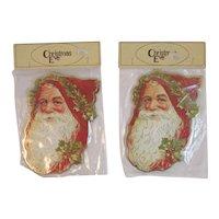 4 Diecut Santa Ornaments in Original Package Christmas Eve Inc Old World NOS NIP Die Cut 1985