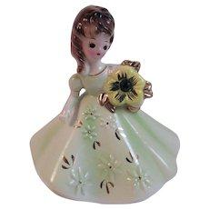Josef Originals May Birthday Girl Lady Figurine Emerald Birthstone Vintage