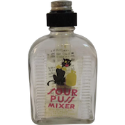 Sour Puss Mixer Bottle with Black Cat Vintage Glass