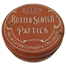Reed's Butterscotch Patties Candy Tin Litho Decorated