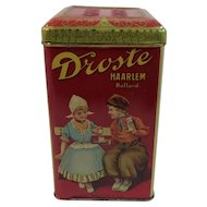 Droste's Cocoa Tin with Dutch Children Hinged Embossed Lid Litho Decoration Holland Hot Chocolate