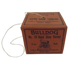 Bulldog No 10 Hand Shoe Thread String Holder Original Box with Ball of Thread Still Inside