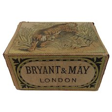 1880s Bryant & May Match Box with Tiger Original Label on Wood Victorian Era
