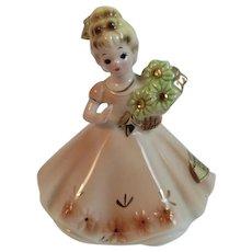 Josef Originals November Birthday Girl Lady Figurine Topaz Birthstone Vintage