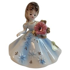 Josef Originals October Birthday Girl Lady Figurine Opal Birthstone Vintage