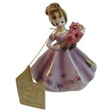 Josef Originals July Birthday Girl Lady Figurine Ruby Birthstone Vintage