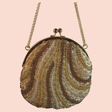 La Regale Beaded Purse Evening Bag Vintage Hand Made Metal Frame with Chain Strap Satin Lined