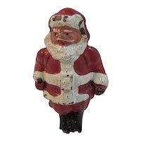 Miniature Cast Iron Skiing Santa Made in USA Vintage with Ski Poles