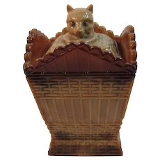 Summit Art Glass Company Cat on a Hamper circa 1970s