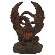 Cast Iron American Eagle with Flag Shield Doorstop Doorstop