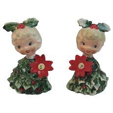 Holt Howard Poinsettia Christmas Tree Girl Salt and Pepper Shakers Vintage 6216