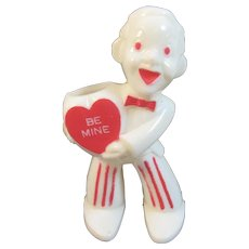 Rosbro Valentine Sweetheart Man with Heart Be Mine Hard Plastic Candy Container