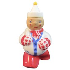 Rosen Jolly Skater Snowman with Sailor Hat Patriotic Hard Plastic Candy Container Red White and Blue WWII Era Christmas