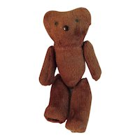 Miniature Jointed Teddy Bear Dollhouse Size Brown Vintage