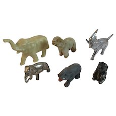 Herd Of Miniature Elephants Collection of Metal Onyx and Cast Iron Vintage Group of 6
