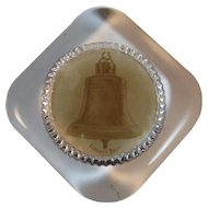 Old Glass Paperweight with Liberty Bell Image Patriotic Souvenir