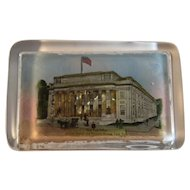 York Pennsylvania New Post Office Mirrored Back Reflective Glass Paperweight