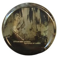 Luray Caverns Organ and Chimes Image in Glass Paperweight Souvenir Paper Weight 1908 Strickler