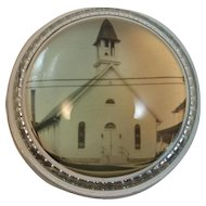 Old Glass Paperweight with Church Image Paper Weight