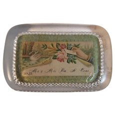 Old Glass Paperweight with Calling Card in it Paper Weight