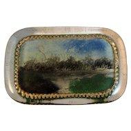 York Pennsylvania Reverse Painted Glass Paperweight Souvenir Paper Weight
