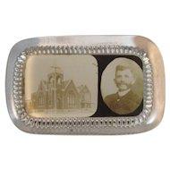 York Pennsylvania Novelty Glass Paperweight Souvenir Paper Weight Church Building with Man