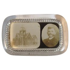 York Pennsylvania Novelty Glass Paperweight Souvenir Paper Weight Church Building with Man