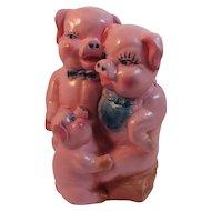 1940s Three Little Pigs Ceramic Piggy Bank Vintage Pink
