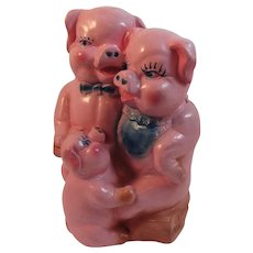 1940s Three Little Pigs Ceramic Piggy Bank Vintage Pink