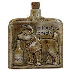 Dog Sniffing Whiskey Bottle Flask Whisky His Masters Breath by Schafer and Vater Made in Germany German Nip Bottle